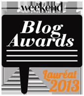 Logo du Weekend Blog Awards du Vif/weekend. Notre site a gagné l'award dans la catégorie voyage en 2013.