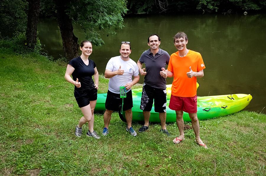 Helena, Michel (moi), Constant et Maxime, à la fin de notre dernière activité