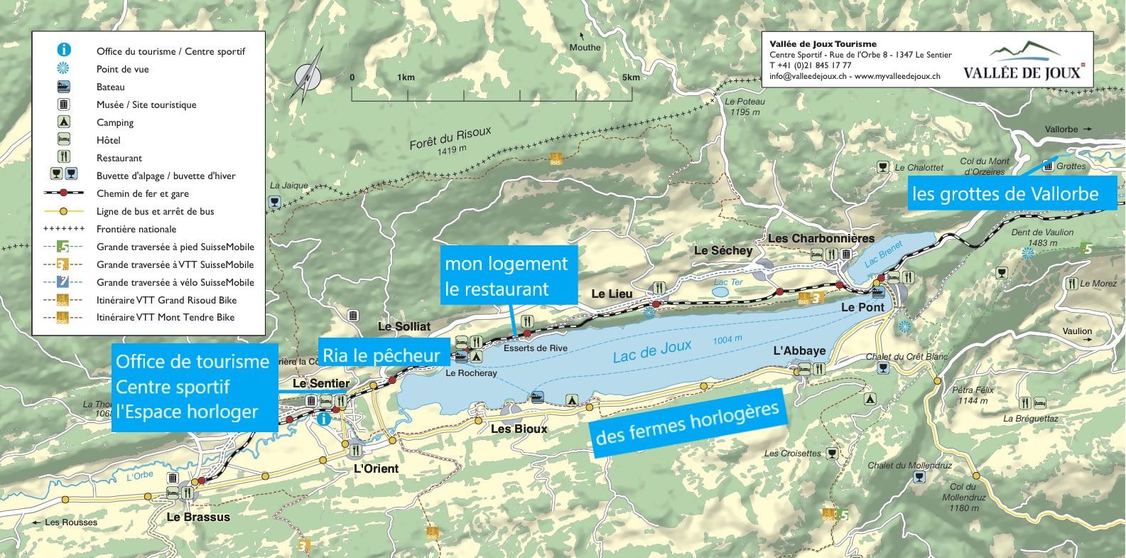 Le lac de Joux - différents activités